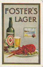 Fosters Lager Australia advertising playing swap card showing bottle & lobster