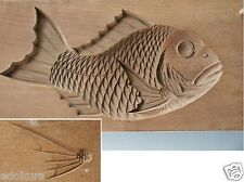 ANTIQUE JAPANESE KASHIGATA Carved Wooden Cake Mold - TAI Sea Bream with Fin