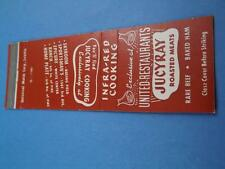 UNITED RESTAURANT JUICY RAY MEAT INFRA RED COOKING MATCHBOOK VINTAGE ADVERTISING
