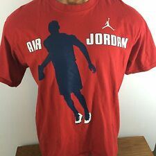 NIKE AIR JORDAN 100% Cotton Solid Red Embellished Tee T-Shirt Large L NBA Bulls