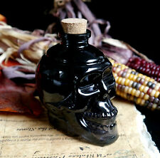 Black Glass Skull Potion Bottle  Wicca Pagan Witchcraft Yule Samhain Gift