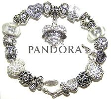Authentic Pandora Sterling Silver Bracelet with European Charms NURSE, RN, White