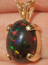"14K SOLID YELLOW GOLD 2.02ct SOLID BLACK WELO OPAL 11X9mm Oval Pendant 18"" Neckl"