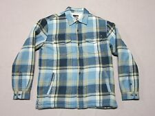QUIKSILVER MENS BLUE PLAID FLANNEL SHERPA LUMBERJACK JACKET COAT SIZE SMALL