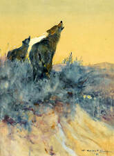 Howling Wolves Sagebrush by William Herbert Dunton
