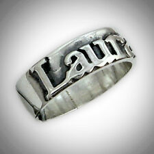 Name Ring Custom Personalized Name Word Engraved Cutout 2 Tone STERLING SILVER