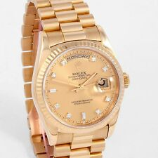 Rolex 18K YG DayDate President - Factory Champagne Diamond Dial, 18238- X Serial