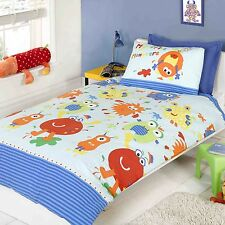LITTLE MONSTERS - BLUE - SINGLE DOONA COVER SET NEW KIDS BEDDING