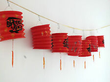 12 CHINESE RED & LUCK PAPER LANTERN 5M BUNTING JAPANESE WEDDING PARTY 12 cm