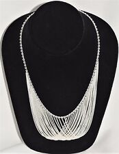 "Vintage 18"" Sterling Silver 925 Multi Strand Chain Drape Drop Bib Necklace 26.1g"
