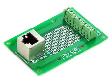 RJ45 8P8C Vertical Shielded Jack Breakout Board, Terminal Block, Connector.