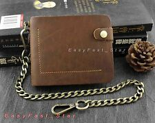 Casual Cowhide Genuine Leather Short Wallet With a safe Chain For Men Boys Gift