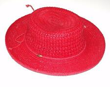 SCALA~COLLECTION~RED~CROCHET RAFFIA STRAW *BOATER* BRAIDED SUN BEACH HAT~RARE