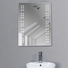 Bathroom Illuminated Mirror Led Light Sensor Demister Shaver Clock Wall Mounted
