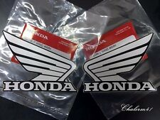 HONDA GENUINE WING - Silver Black  - 2X 90mm B6E13 STICKER DECAL PLATE EMBLEM