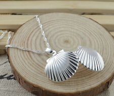 Silver Sea Shell Locket Nautical Water Wave Chain Necklace 20inch