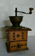 Antique Wooden Pepper & Spice Grinder with Nail Head Embellishment Details