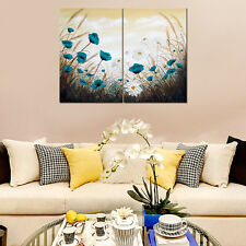 Blue White Daisy Flower HD Canvas Prints Wall Art Decor Painting Picture FRAMED