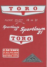TORO 1960s Sportlawn 18 or 21 Vintage Mower Repro Decals
