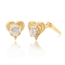 9ct yellow gold heart silhouette cubic zirconia Andralok stud earrings, Giftbox