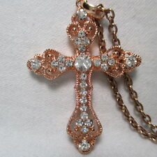 Christian CZ Zinc Copper Cross Pendant Necklace