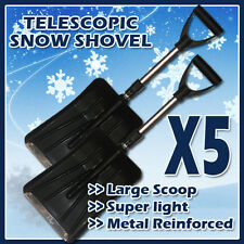 5 X TELESCOPIC SNOW SHOVEL SCOOP CAR WIDE SHOVEL HEAD METAL STRIP & TELESCOPIC