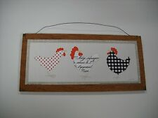 3 roosters in polka dots Country Kitchen wooden Wall Art Sign farm decor
