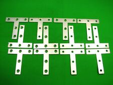 Tee plate T shape bracket flat fence panel fixing 76mm, pack of 12 zinc plated