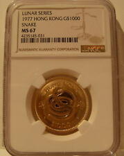 Hong Kong 1977 Gold $1,000 NGC MS-67 Year of The Snake
