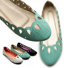 ollio Womens Shoes Ballet Flats Loafers Low Heels Cutout Easy Slip-on Size