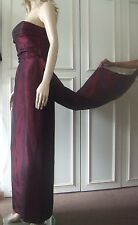 Stunning Scene Prom or Bridal Dress & Train Silky Shiny Wine Red UK10 FREE Ship