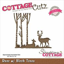 Deer With Birch Trees, Steel Craft Cutting Die COTTAGE CUTZ - NEW, CCE-342