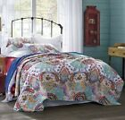 NIRVANA 3pc King Quilt Set Reversible Paisley Turquoise White Bohemian Boho Mod