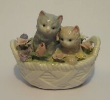 "Retired Porcelain Basket of Flowers w/ Kittens MUSIC BOX ""CATS"" Anna Rosa Label"