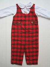 NOS Girl's Rocking Horse Plaid Romper 18mo Childs Church Holiday School Jumpsuit