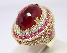 Turkısh Handmade 925 Sterling Silver Ladies Big Ruby Ring Sz 7 free resize