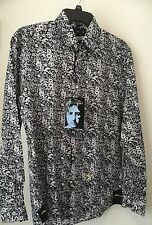 JOHN LENNON Button Dress Shirt Blue Pattern  size S NWT