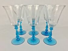 "Franciscan Tiffin Blue Stem Optic SIX 7 1/4"" Water Goblets #15001"