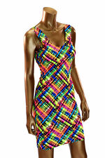 SIZE LARGE Acid Plaid Print Tank Sleeveless Bodycon Lycra Spandex Dress NWT LG