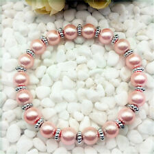 DIY Wholesale Fashion Jewelry 8mm Pink water Pearl Beads Stretch  Bracelet