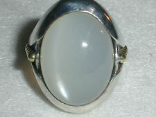 WOW! BOLD CAVIAR STERLING SILVER & 18K GOLD IRIDESCENT MOONSTONE RING- SIZE 7!