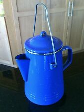 Coffee Percolator Pot 8 Cups Enamelware Speckled Blue Stove Top Camping Hiking