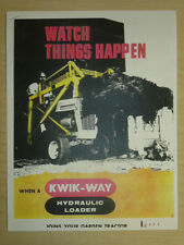 VINTAGE Kwik-Way LOADER SPEC SHEET SALES BROCHURE for GARDEN TRACTORS