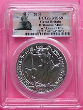 2014 ROYAL MINT BRITANNIA ' MINT ERROR / MULE ' SILVER  £2  1oz COIN PCGS MS69