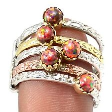 Two Tone - Fire Opal 925 Sterling Silver Ring Jewelry s.7.5 SR203760