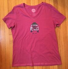 "Women's LIFE IS GOOD t-shirt cotton, pink, Small "" Get Out"", camp bike road"