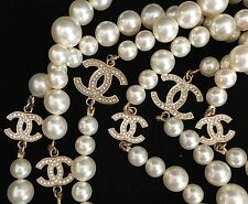 "AUTH CHANEL PEARL 6 CC LOGO DIAMANTE DUAL SIDED 68"" NECKLACE ULTRA RARE LIMITED"