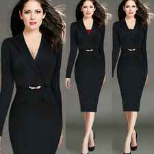 Women's Elegant Long Sleeve Lapel Belted V Neck Wear to Work Pencil Sheath Dress