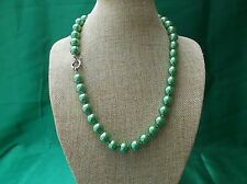 Beautiful 10mm vivid green shell pearl necklace 18 inch w/silver plated clasp
