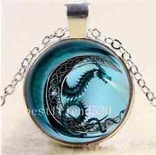 Celtic Moonlight Dragon Cabochon Glass Tibet Silver Chain Pendant  Necklace